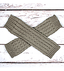 One Pair of Gray Cable Knit Leg Warmers #JBS0021-GY