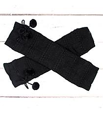 One Pair of Black Knit Leg Warmers with Pom-Poms #JBS0023-BK
