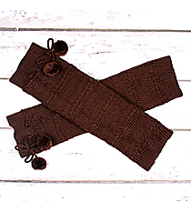 One Pair of Brown Knit Leg Warmers with Pom-Poms #JBS0023-BR