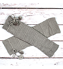 One Pair of Gray Knit Leg Warmers with Pom-Poms #JBS0023-GY