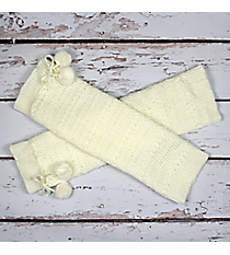 One Pair of Ivory Knit Leg Warmers with Pom-Poms #JBS0023-IV