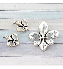 Silvertone Fleur-de-Lis Pendant and Earring Set #JCE0094-AS