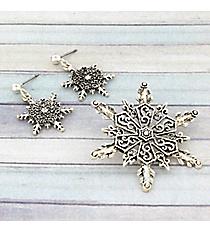 Silvertone Snowflake Pendant and Earring Set JCE0245-AS