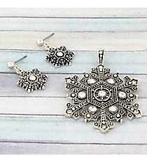 Textured Silvertone and Crystal Snowflake Pendant and Earring Set #JCE0246-AS