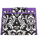 Damask with Purple Trim Small Roll Up Jewelry Bag #CB50-2010-PU