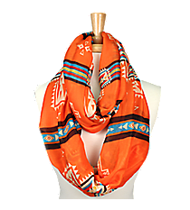 Orange with Multi-Color Aztec Cross Infinity Scarf #JF0003-COM