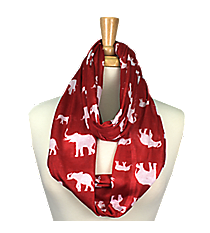 Red with White Elephants Infinity Scarf #JF0006-RD
