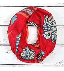 Coral Multi-Color Indian Chief Infinity Scarf #JF0010-COM