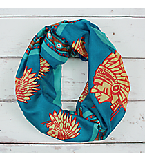 Turquoise Multi-Color Indian Chief Infinity Scarf #JF0010-TQM