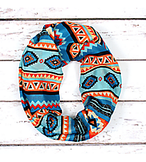 Turquoise with Multi-Color Aztec Print Infinity Scarf #JF0011-TQM