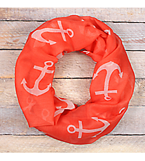 Coral with White Anchor Infinity Scarf #JF0027-CO
