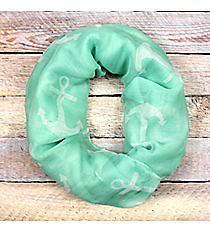 Mint with White Anchor Infinity Scarf #JF0027-GR