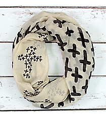Tan with Black Cross Infinity Scarf #JF0032-IV