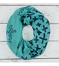 Turquoise with Navy Cross Infinity Scarf #JF0032-TQ