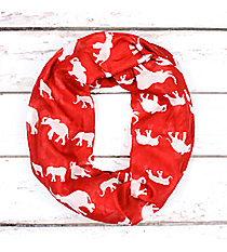 Red with White Elephants Infinity Scarf #JF0044-RD