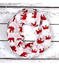 White with Red Elephants Infinity Scarf #JF0044-WT