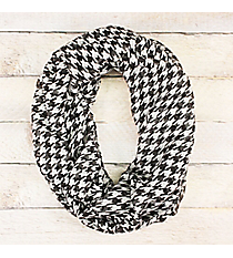 Black and White Houndstooth Lightweight Infinity Scarf #JF0079-BK