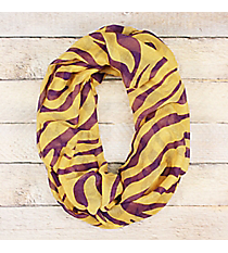 Purple and Gold Tiger Lightweight Infinity Scarf #JF0080-PU