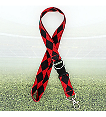 Red and Black Argyle Lanyard #JI0033-BKRD