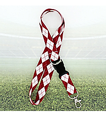 Crimson and White Argyle Lanyard #JI0033-RDWT