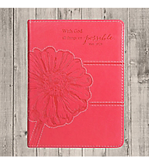 Matthew 19:26 Pink Floral LuxLeather Flexcover Journal #JL152