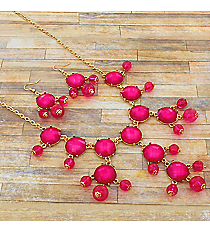 "17"" Pearlized Fuchsia Stone Necklace and Earring Set #JS5424-GFU"
