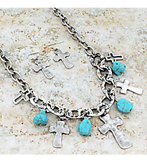 "17"" Burnished Silvertone Cross and Turquoise Stone Necklace and Earring Set #JS5933-SBTQ"