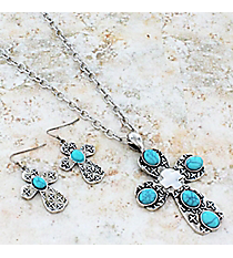 "17"" Turquoise Stone Accented Burnished Silvertone Cross Necklace and Earring Set #JS5941-SBTQ"