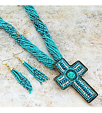 "18"" Turquoise Multi-Strand Seed Bead and Crystal Cross Necklace and Earring Set #JS6281-TQ"