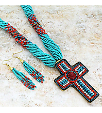 "18"" Turquoise and Coral Multi-Strand Seed Bead and Crystal Cross Necklace and Earring Set #JS6281-TQCO"
