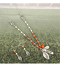 "17"" Orange & White Beaded Silvertone Football Necklace and Earring Set #JS6290-ASOW"