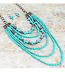 "18"" Layered Turquoise Cross Beaded Necklace and Earring Set #JS6301-SBTQ"