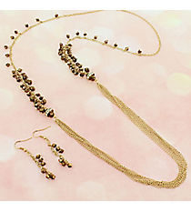 Bronze Faceted Bead and Goldtone Multi-Strand Necklace and Earring Set #JS6726-GBRZ