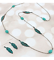 Patina Feather and Turquoise Bead Necklace and Earring Set #JS6767-PTTQ