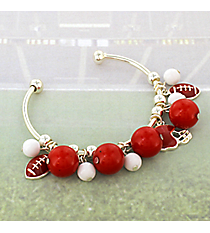 Red and White Football Theme Cuff Bracelet #JTB0198-SRDWT