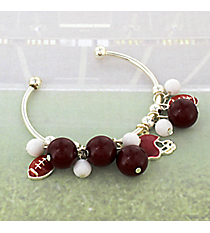 Burgundy and White Football Theme Cuff Bracelet #JTB0198-SWIWT