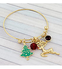 Gold Christmas Reindeer Bangle #JTB0218-G