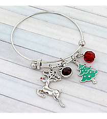 Silver Christmas Reindeer Bangle #JTB0218-RH