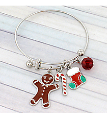 Silver Christmas Gingerbread Bangle #JTB0219-RH