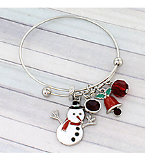 Silver Christmas Snowman Bangle #JTB0226-RH