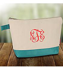 Canvas Cosmetic Bag with Aqua Trim #JUT738-AQUA