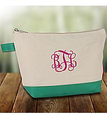 Canvas Cosmetic Bag with Mint Trim #JUT738-MINT