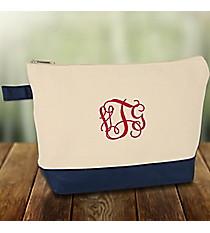 Canvas Cosmetic Bag with Navy Trim #JUT738-NAVY