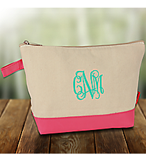Canvas Cosmetic Bag with Pink Trim #JUT738-PINK