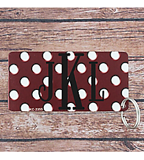 Burgundy with White Polka Dots Metal Keychain #KC-2355