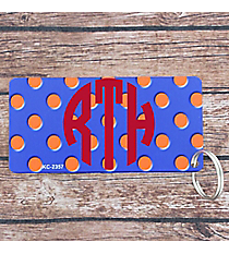 Royal Blue with Orange Polka Dots Metal Keychain #KC-2357