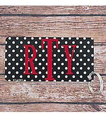 Black with White Small Dots Metal Keychain #KC-4365