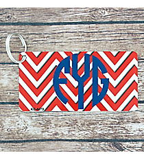 Red and White Chevron Metal Keychain #KC-4473