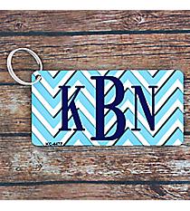 Light Blue and White Chevron Metal Keychain #KC-4477