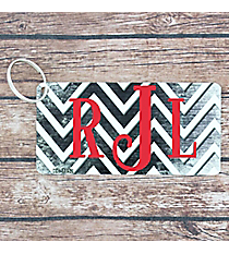 Brushed Black and White Chevron Metal Keychain #KC-7052